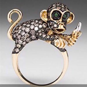 925 Sterling Jeweled Monkey Ring